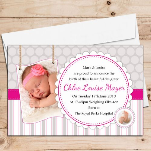 10 Personalised Baby Girl Birth Announcement Thank You PHOTO Cards N122